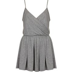 TOPSHOP PETITE Wrap Jersey Playsuit (99 BRL) ❤ liked on Polyvore featuring jumpsuits, rompers, dresses, playsuits, jumpsuit, vestidos, grey marl, petite, playsuit jumpsuit and grey romper jumpsuits