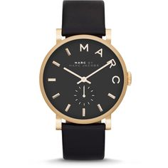 MARC by Marc Jacobs Baker Analog Watch with Leather Strap ($195) ❤ liked on Polyvore featuring jewelry, watches, accessories, bracelets, acessorios, black, black bracelet, leather strap watches, black face watches e buckle bracelet