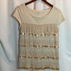 ANN TAYLOR LOFT WOMENS SIZE MEDIUM TAN GOLD SEQUIN SPARKLE SCOOP NECK SHORT SLEE #AnnTaylorLOFT #KnitTop #Casual