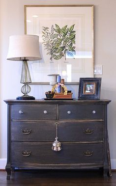 Dresser Makeover - painted,  distressed, then coated with tung oil. Such an easy way to update an outdated piece.