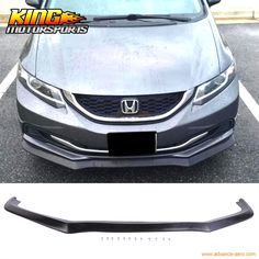 (76.95$)  Buy here - http://ai13e.worlditems.win/all/product.php?id=32613496063 - Fit 13 14 15 Honda Civic Sedan PU Front Bumper Lip USDM Model CS Style