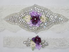 Rhinestone garter set in Ivory stretch lace with beautiful sparkling rhinestone appliques topped with silk rosettes. on Etsy, $52.00