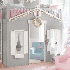 Playtime and bedtime combines in our new Playhouse Loft Bed - a safely railed single-sized bed sits atop a shuttered house. When do we move in? #potterybarnkidsaus #bed #kids