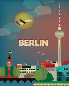 This is a dramatic stylized vertical original illustration of Berlin. An interesting skyline, it is made of old world and modern architecture. The amazing Berlin TV Tower, the tallest structure in Berlin is my focal point. The gradient blue and red sky highlights the stunning shape of the tower. ...