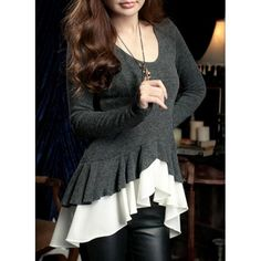 Brand New Scoop Neck Flounce Chiffon Dovetail Irregular Design Long Sleeves Blended Women's Blouse, GRAY, ONE SIZE in Blouses | DressLily.com