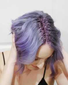 Glitter roots! Pastel purple, Lavender hair color. Hair trend of 2015 and 2016. Smokey purple color. Periwinkle hair.