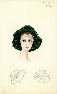 This is a beautiful fashion illustration, and the hat is a bit reminiscent of Regency Era hats.