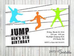 Trampoline Birthday Party Invitation Template Free
