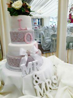 Blush pink and white cake