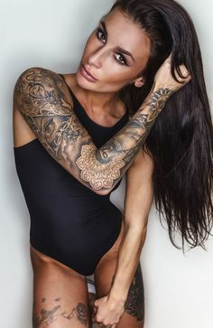 Beautiful girl, long sleeve tattoo design.
