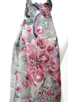 Pink Silver Scarf. Hand Painted Silk Romantic Scarf.