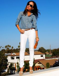 """The old """"no white after Labor Day"""" rule is meant to be broken, and we can picture ourselves in Sydne of Sydne Style's outfit well past the holiday weekend. A chambray top paired with our white Skyline Skinny jeans looks chic all year-round.    See more here: http://www.sydnestyle.com/2012/08/classic-combo/"""