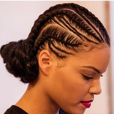 Freehand - Cornrows Wrapped into a Low Bun -