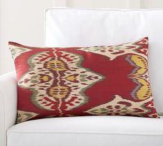 """Inez Ikat Printed Silk Lumbar Pillow Cover, 16x26"""", Red Multi"""