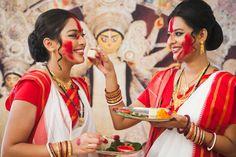 Durga Puja is a celebration of the Mother Goddess and the biggest festival of the year in Kolkata, India. Durga Maa Paintings, Durga Painting, Festivals Of India, Indian Festivals, Durga Puja Kolkata, Maa Durga Photo, Gujrati Wedding, Bengali Saree, Cotton Saree Designs