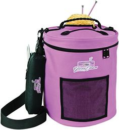 #artwork This lightweight tote holds up to eight standard sized skeins of #yarn.  Yarn in use can easily be removed from tote through lid.  Textured PVC #base kee...