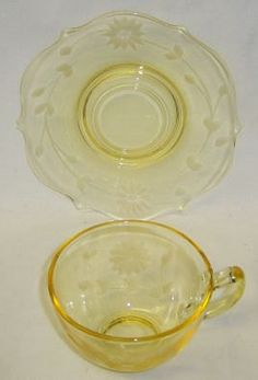 Lancaster Glass Co. Yellow Jubilee Pattern Cup and Saucer
