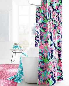 Join our sorority of fabulous Sister Florals — now these vibrant designs are taking on the bath as upbeat shower curtains. Printed on pure long-staple Egyptian cotton (of course) with iconic Lilly prints and colors. Great for a first apartment or a girl's bath en suite.
