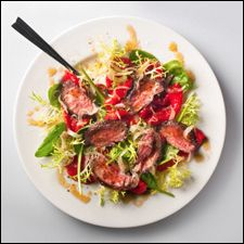 Skirt steak salad and red wine! Amp up the flavor with a red miso ...