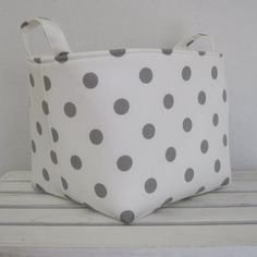 Fabric Organizer Bin Toy Storage Container Basket - Gray Dots on White Fabric  - 8 x 8 x 8