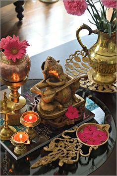 And we are so ready to bid adieu to our bappa today after a wonderful celebration at our end. Indian Room Decor, Ethnic Home Decor, Indian Decoration, Indian Home Interior, Indian Interiors, Diwali Decorations, Festival Decorations, Home Decor Furniture, Diy Home Decor