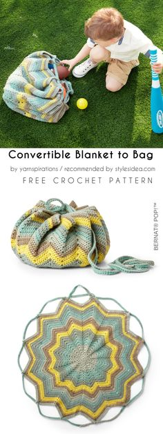 Convertible Blanket into Bag Free Crochet Pattern #crochetblanket #crochetbag