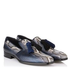 Natural and Ink Striped Matt Python Loafers with Tassels | Foxley | Men's Collection | Autumn Winter 14 | JIMMY CHOO Shoes -- $1650