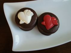 Dark Chocolate Dipped Oreo Cookies with a heart and arrow on top. Valentine's Day...Wedding Favors... www.rosebudchocolates.com