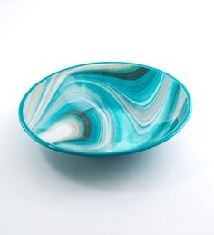 Fused Glass Bowl Turquoise Kitchen Decor Modern by Nostalgianmore