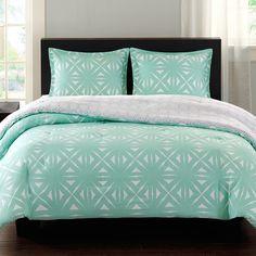 favorite bedding for a bright modern bedroom - Aqua and White Lattice Comforter Set