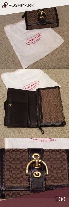 Coach wallet Brown Factory Coach wallet with some scratching on the buckle (see pic for detail). Inside is I great condition. Coach Bags Wallets