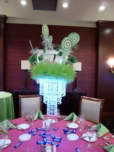 Lollipop light up centerpiece for candy theme bar mitzvah at the Kernwood Country Club | by The Prop Factory