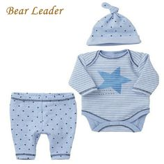 Bear Leader Baby Boy 3pcs Sets Long-sleeve Rompers+Hat+Pants Baby Girls Clothing Suits Stars Printting Infant Jumpsuits Boys  #Baby #BabyShop #Newborn #ToddlerClothes #BabyShoes #NewbornDress #BabyClothing #BabyBoy #BabyToys #InfantDress