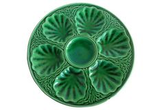 Antique Green    Majolica Oyster Wall Plate, 1880, east of France