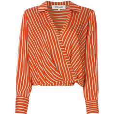 Dvf Diane Von Furstenberg striped wrap blouse (€305) ❤ liked on Polyvore featuring tops, blouses, red, stripe top, red blouse, diane von furstenberg tops, red wrap top and red top