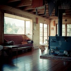 "aadnesen: "" Wood stove, Cowichan Cabin, photo by Andy Grellmen """