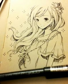 Anime Drawings I'm stuck in an art block tonight. And when I don't know what to draw, I draw girls with long flowy hair (°˛° ) (Source: myrollingstar) - Manga Drawing, Manga Art, Illustrations, Illustration Art, Art Fairy Tail, Manga Anime, Anime Plus, Poses References, Anime People