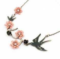Bird with Flowers Necklace http://www.boundmisfit.com/products/bird-flower-necklace