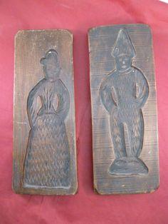 Vintage Carved Wood Speculaas Cookie Mold Press Springerle Pair Dutch German