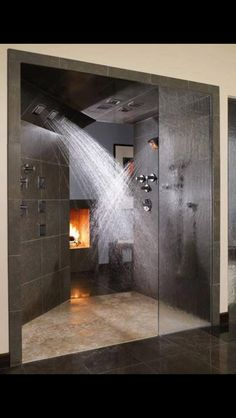 #love this #shower and the #fireplace in the #bathroom makes it extra #sexy.