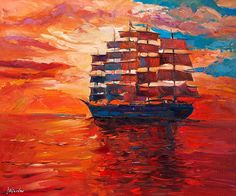 www.ivailonikolov.com      Gorgeous painting! More beautiful in real life than in the pictures!   - Title:  The sailing ship    -Measures: