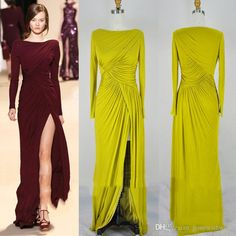 2016 Long Sleeves Prom Dresses Evening Wear Split Evening Dresses Celebrity Red…