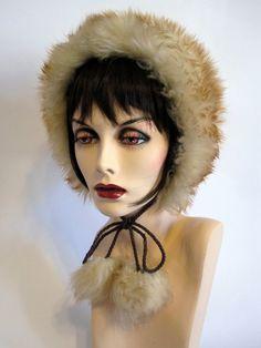 Vintage Sheep Skin Bonnet / Fur Hat With Pom Poms by SalomeVintage, $47.00