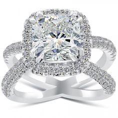 5.28 Carat G-SI2 Cushion Cut Diamond Engagement Ring 14k White Gold Pave Halo - Liori Exclusive Engagement Rings - Engagement - Lioridiamonds.com