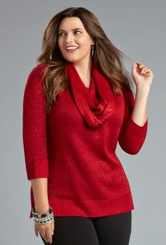 Red shimmery sweater Avenue.com