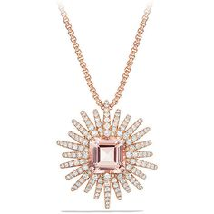 David Yurman Starburst Necklace with Diamonds and Morganite in 18K... (342035 TWD) ❤ liked on Polyvore featuring jewelry, necklaces, diamond pendant jewelry, pave diamond pendant, box chain necklace, diamond jewelry and pendant necklace