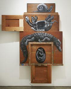 Roa  - Composition III: Alligatoridae, Testudinidae, Gastropoda (DETAIL)