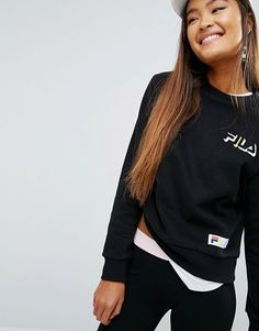 Relaxed Boyfriend Sweatshirt With Chest Logo by Fila. Sweatshirt by Fila, Soft-touch sweat, Crew neck, Signature logo, Fitted trims, Relaxed boyfriend fit, Machine wash, 7...