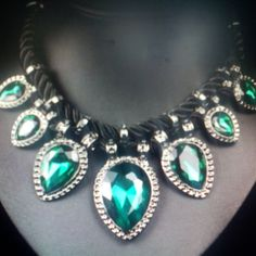 Crystal  Rope Necklace/ Green