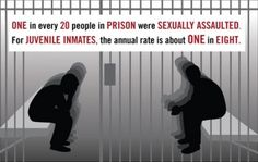 One in every 20 people in prison were sexually assaulted. For juvenile inmates, the annual rate is about one in eight.